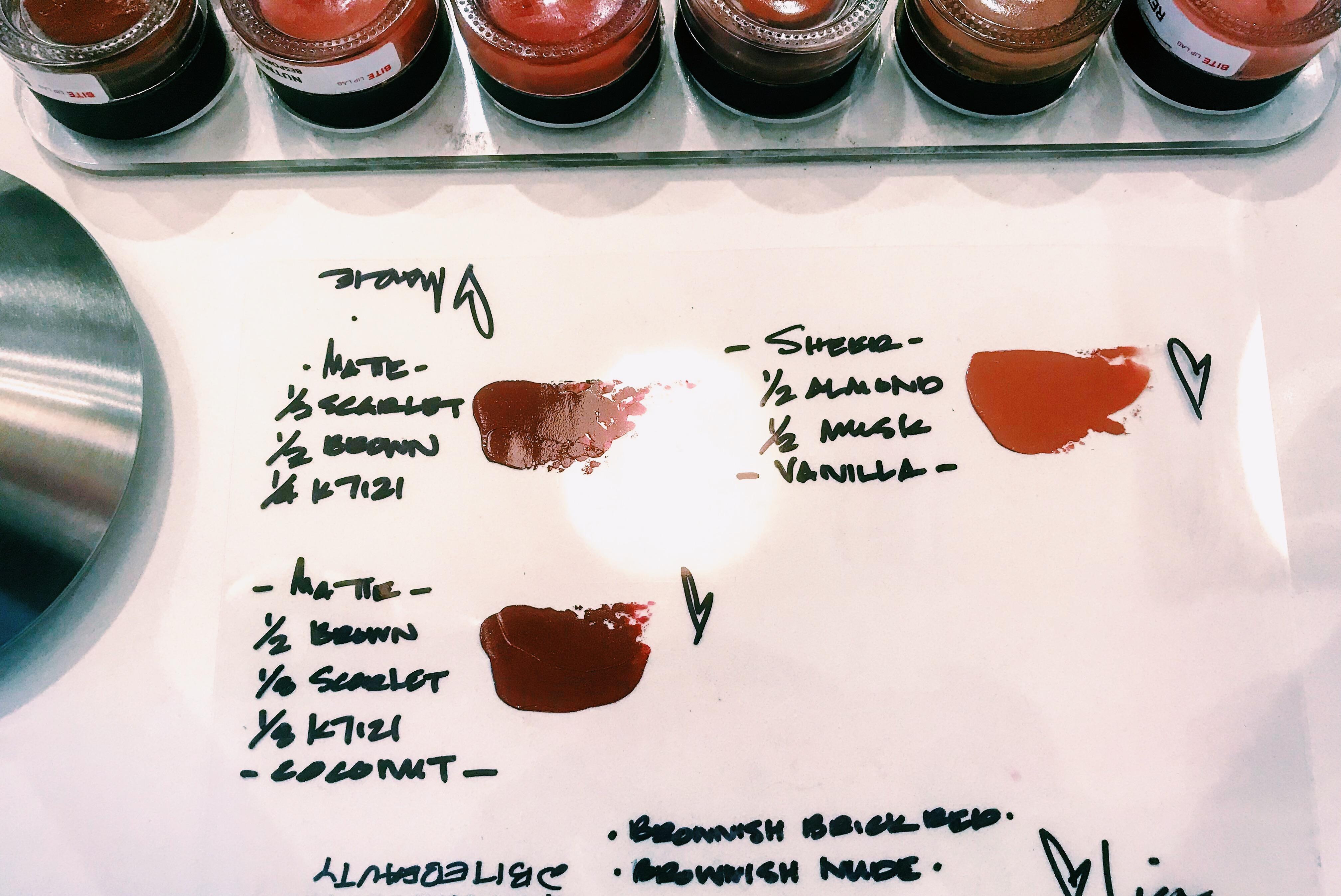 Bite Beauty Lip Lab | Los Angeles | Lipstick Color Mixing Sheet