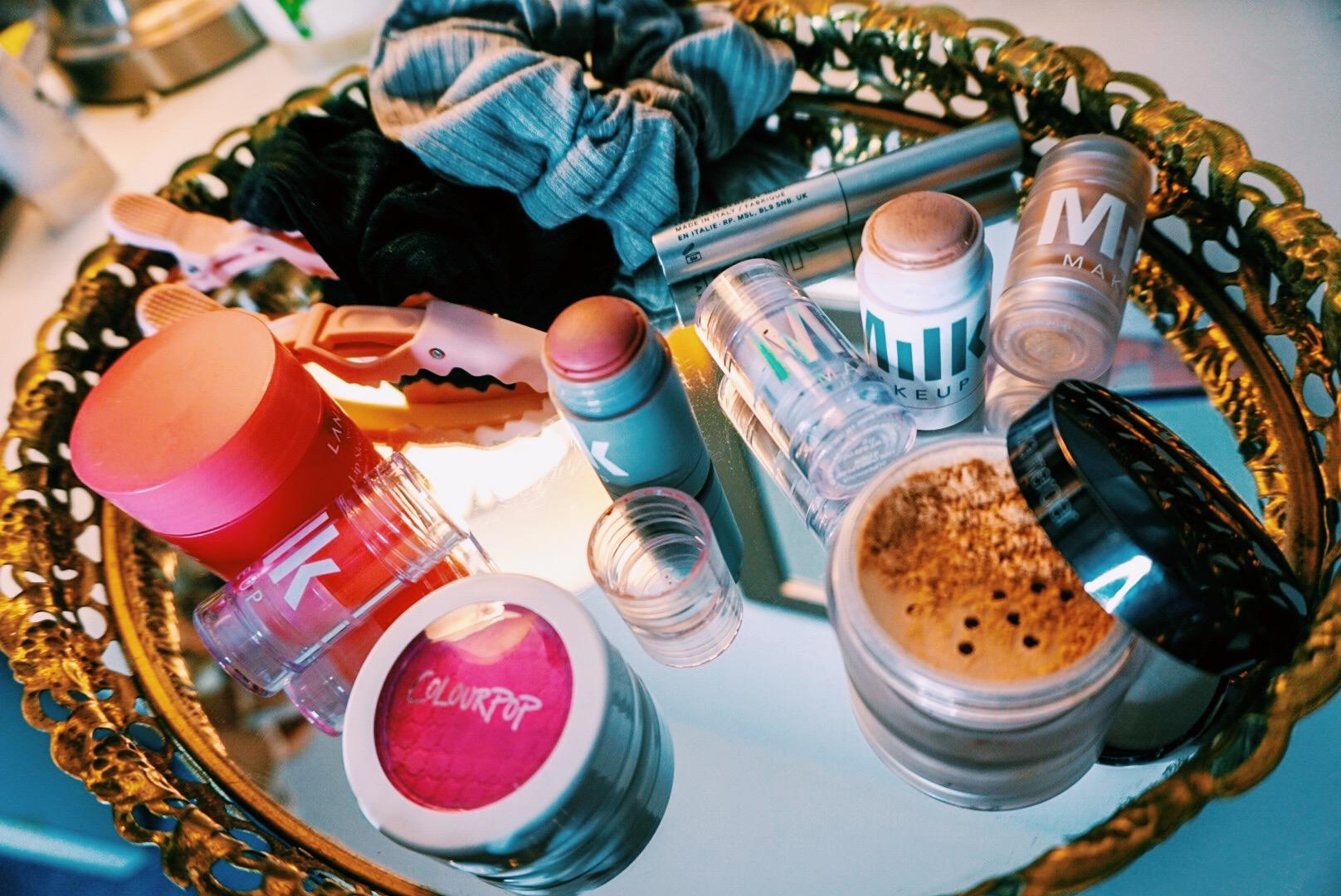 Milk Makeup Review | Beauty Flat Lay | Blush, Highlighter, Primer, Toner, Mascara