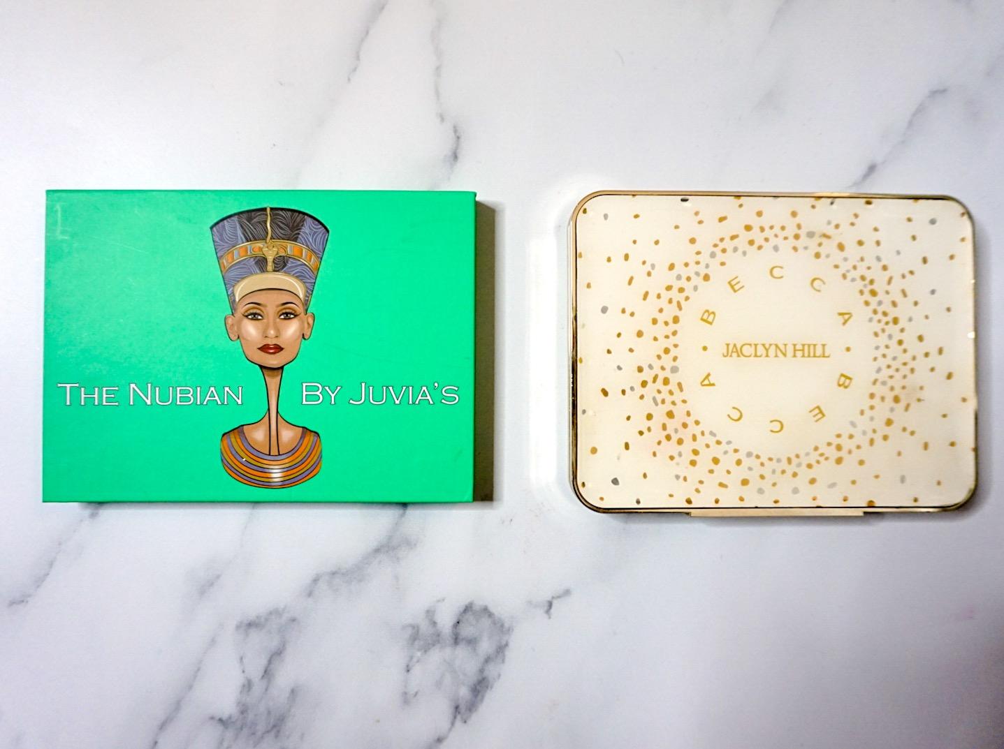 Best Pigmentation: Juvia's Place Nubian Eyeshadow Palette & BECCA x Jaclyn Hill Face Palette
