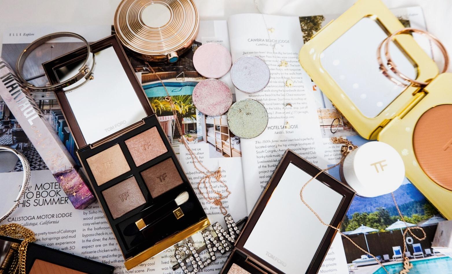 Yearlong Low Buy | Luxury Makeup Flatlay | Anastasia Beverly Hills, Estee Lauder, Il Makiage, JD Glow, Nars, Shiseido, Tom Ford | JD Glow Galaxy Eyeshadows