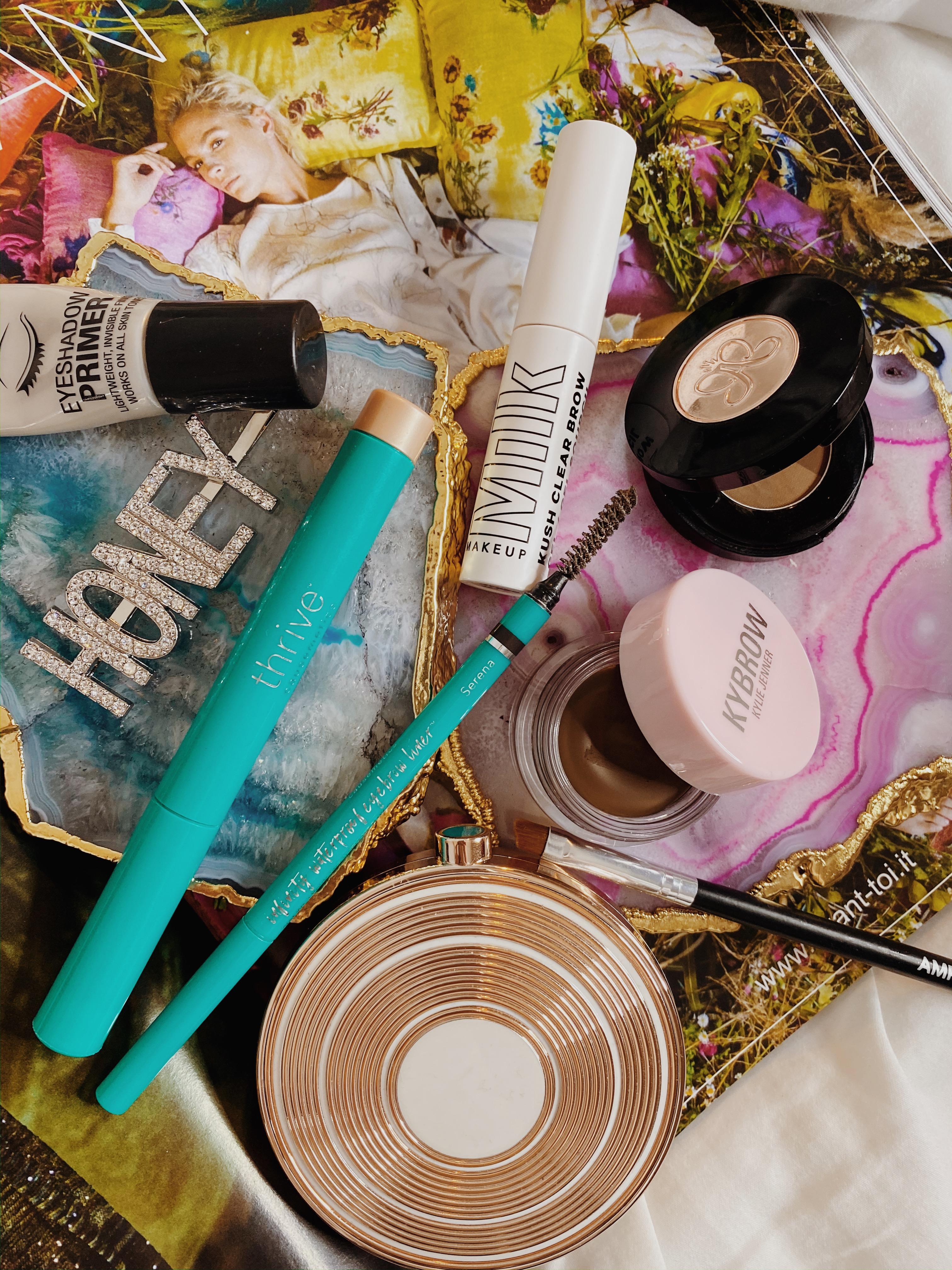 Brow Product Collection Ranking | Thrive Causmetics Brow Liner | Milk Makeup Kush Clear Brow Gel | Anastasia Beverly Hills Brow Powder | Kybrow Pomade