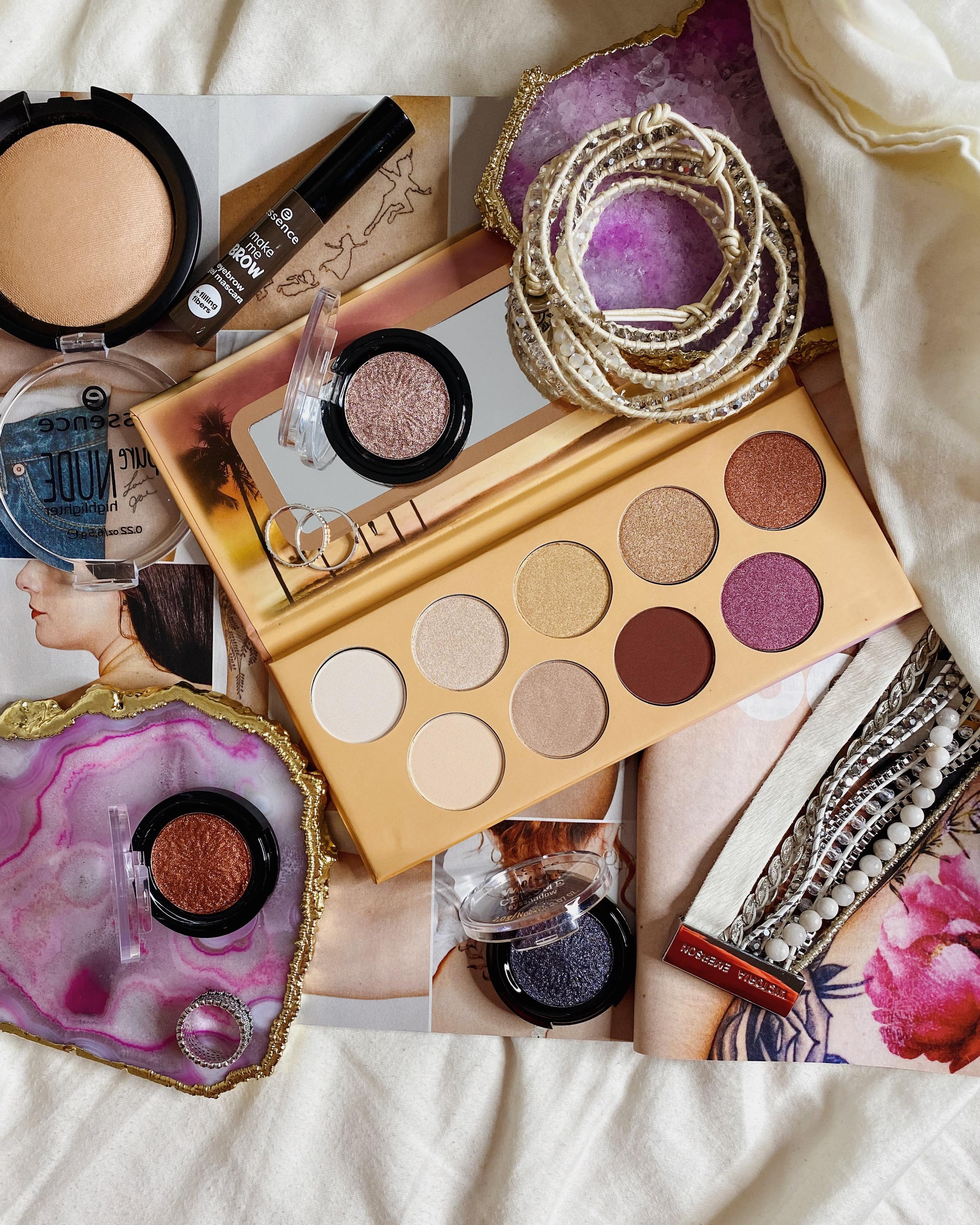 Essence Makeup Ola Rio Eyeshadow Palette Review | Essence Melted Chrome Eyeshadows | Essence Pure Nude Highlighter
